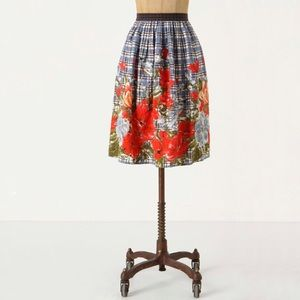 ANTHROPOLOGIE | Odille Picked Plaid Floral Skirt